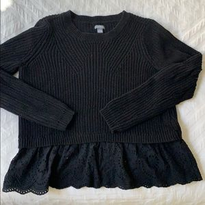 Gorgeous black sweater with lace detail